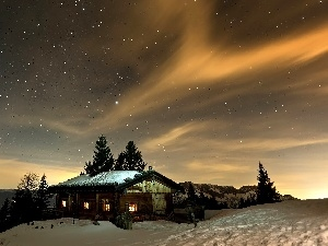 Sky, winter, Night, Home