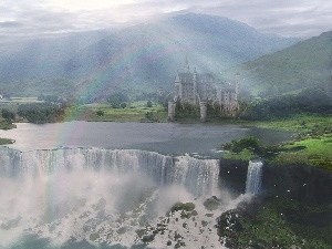 rays of the Sun, Castle, Mountains, rainbows, waterfall