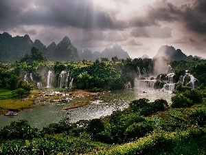 River, Mountains, rays of the Sun, waterfalls