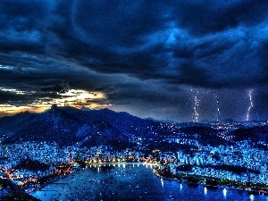town, Mountains, clouds, panorama, River, Rio de Janerio, Night