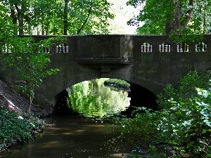 stone, stream, Park, bridge