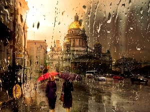 Rain, buildings, Picture of Town, Street