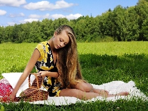 grove, girl, pillows, basket, coverlet, Meadow