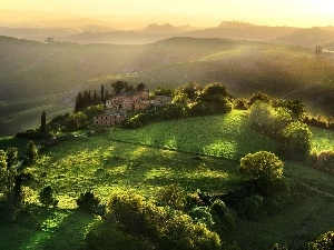ligh, Fog, morning, Mountains, Tuscany, flash, medows, sun, trees, Farms, Przebijaj?ce, luminosity, viewes
