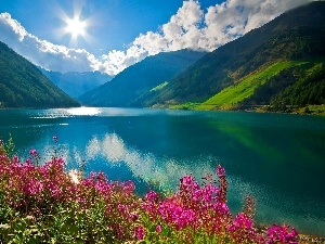 clouds, lake, rays, sun, Flowers, Mountains