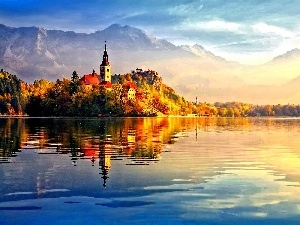 lake, Castle, reflection, Island