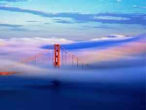 River, clouds, We, mist, bridge