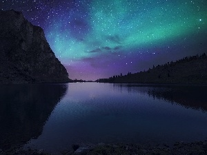 Mountains, star, River, dawn