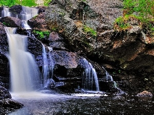 River, waterfall, rocks