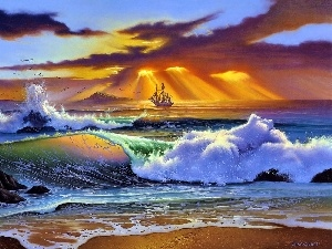 rays, sea, Rocks, graphics, sun, Waves