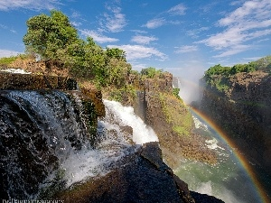 waterfall, Great Rainbows, rocks