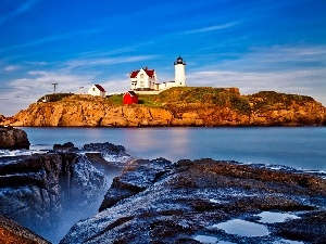 rocks, Lighthouses, sea