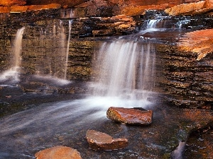 waterfall, rocks