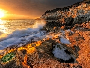rocks, Waves, sun, sea, west