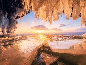 lumps, Baikal Lake, icicle, Ice Cave, Icecream, Russia