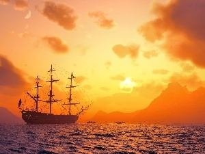 west, sea, sailing vessel, sun