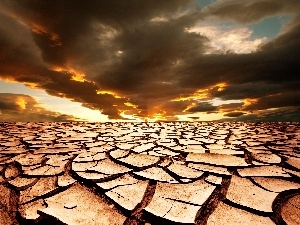 scorched, land, west, sun, clouds