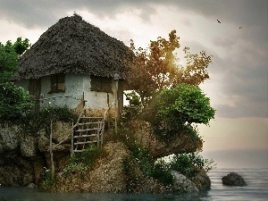 Cottage, The islet, sea, an