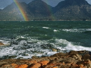 Great Rainbows, Mountains, sea