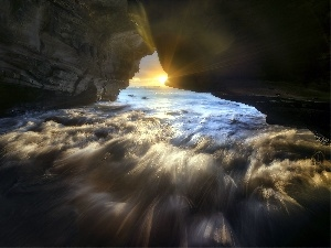 rays of the Sun, cave, sea