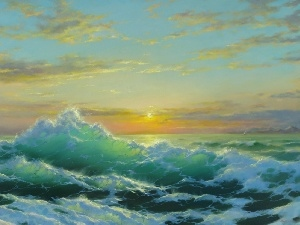 sea, George Dimitriev, Waves, Sky, west, painting