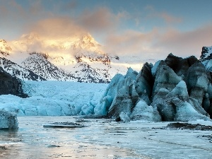 sea, winter, Mountains, ice, rocks