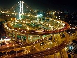 Shanghai, night, flyover, panorama, bridge