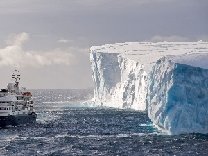 Ship, passenger, Mountains, ice, Antarctica