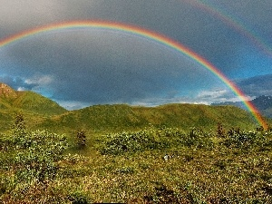 Double, Mountains, Sky, Great Rainbows