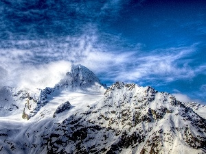 Sky, winter, Mountains