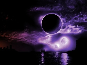 Sky, purple, Moon, sea, Night