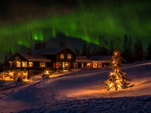 aurora polaris, Night, snow, Lightened House