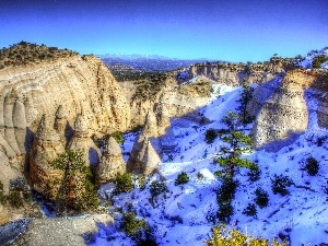 rocks, viewes, snow, trees