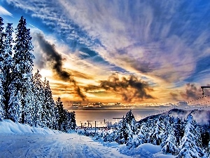 Great Sunsets, viewes, snow, trees