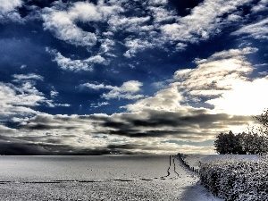 snow, winter, viewes, clouds, trees