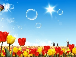 Spring, Tulips, Balloon