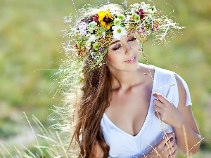 Women, wreath, spring, Meadow
