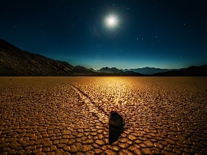 star, Stone, Mountains, moon, Desert