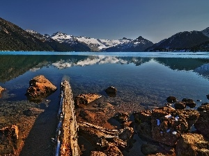 Stones, lake, Mountains