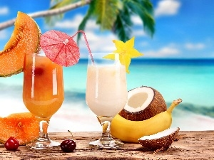 summer, holiday, fruit, cocktails, color
