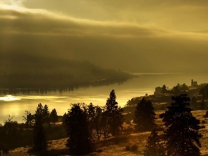 flash, sun, luminosity, Fog, viewes, morning, ligh, River, autumn, Przebijaj?ce, trees, Mountains