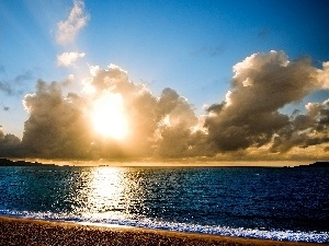 sea, clouds, sun, Coast