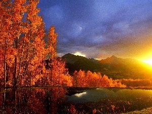 viewes, lakes, Sunsets, sun, Mountains, trees