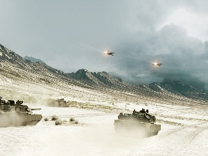 Mountains, Planes, tanks, Desert