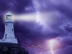 Lighthouse, Storm, thunderbolt, maritime