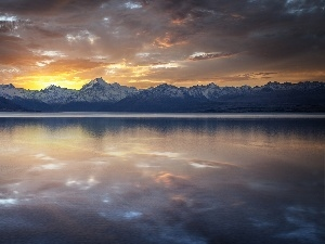 tile, lakes, sun, Mountains, west