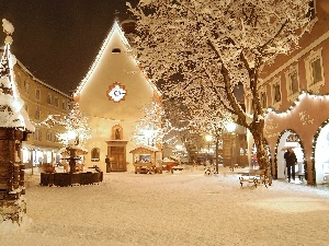 Town, winter, snow