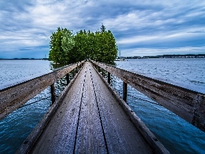 trees, viewes, lake, Island, Platform