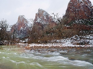 trees, viewes, rocks, River, Snowy