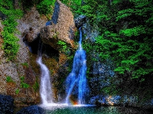 VEGETATION, waterfall, rocks